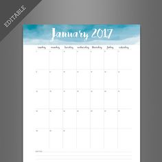 Beautiful Water Color Calendar that you can edit yourself.                                                                                                                                                                                 More