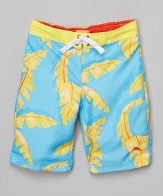 b53bc2ee14ab4 Tommy Bahama Turquoise & Yellow Palm Boardshorts - Infant & Toddler