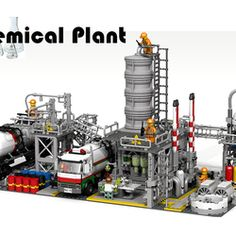 """Thank you for checking out this idea! I have always been fascinated by chemical plants. The sheer size, the enormity and complexity of all those pipes, vats, machinery is mindbaffling. I have no chemical background so I apologize if I made mistakes in the machinery. I viewed hundreds of pictures before building something and I hope I was able to give it a nice """"chemtechy"""" look. Description The plant is built on two basic grey 32x32 stud ground plates and is made with approximately 1..."""