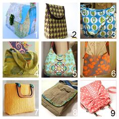 A Roundup of Roundups of Hundreds of Bags, Totes and Purses Tutorials. In response to marupload's question about tutorials for bags, specifically totes (but not huge) and maybe lunch bag size. Here is a list of hundreds of bags:  Roundup of over 100 bags - truly mind boggling number and every type under the sun! (Squidoo) here. *Photo: Sonya Syle - made out of a map here.  Roundup of 6 Lunch Bags (Sew, Mama, Sew!) here. *Photo: A Lemon Squeezy Home   Roundup of 39 Bags of all Shapes and…