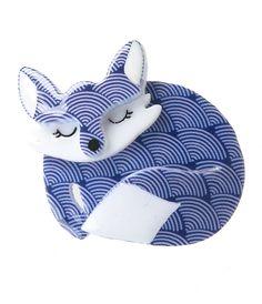 Erstwilder Blue & White Scales Sacha Sleeping Fox Resin Brooch Pin
