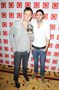 Tom Chaplin and Tim Rice-Oxley with the Best Video prize at the 2012 Q Awards.