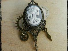 Steampunk Victorian Skeleton Lady Clockwork Brooch