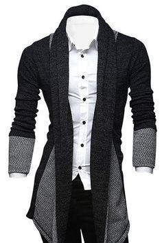 Turn-Down Collar Color Block Splicing Long Sleeve Lengthen Men's Cardigan