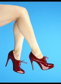 Leather Lace-Up Bootie from PinUpGirlClothing.com $98 have them in grey but this luscious dark red is yummy