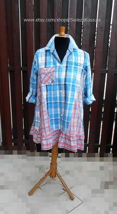 2X Men's Shirt Dress Shirt Recycled Fabric Dress Boho