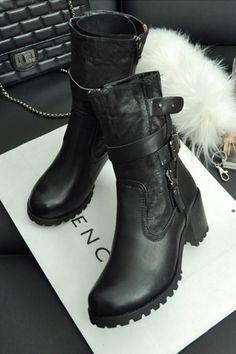 Pin Buckle Strap Embellished Motorcycle Boots  98 Motorcycle Boots d211dcb4407f