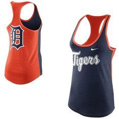 Nike Detroit Tigers Women's Tri-Blend Loose Fit Racerback Tank - Orange/Navy Blue