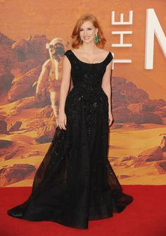 """Jessica Chastain wears ELIE SAAB Haute Couture Spring 2015 attends the European premiere of """"The Martian"""" on September 24, 2015"""