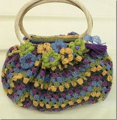 a bag from a crochet square (pattern is in diagram form)