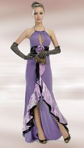 Purple Evening Dress with Flower Bow and Ruffle - Black Accents ~ Excellent Value ~ $62.41