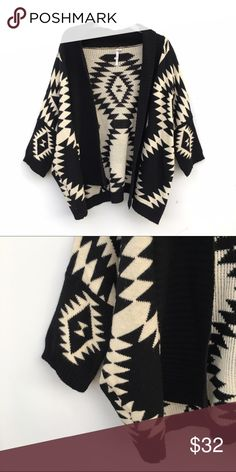 Tribal Print Black and Cream Cardigan Adorable ethnic print black and cream colored cardigan. Flowy and knit material. 36point5 Sweaters Cardigans