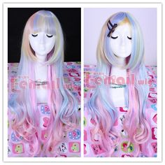 86cm long zipper multi-color wavy Anime Cosplay hair wig CB33,shop all kinds of fashion cosplay wigs at http://Costwe.com/long-cosplay-wigs-c-2_4.html