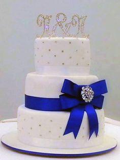 Royal Blue & Diamonte Wedding Cake