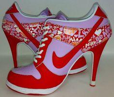 Womens Love Red White and Fushia Nike High Heels Dunk SB Low