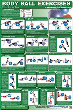 $19.95 - Learn how to do variations of squeezes, push-ups and flyes. Round out your routine with squats, toe pulls, external shoulder rotations, the side ball rollout, bench press, standing calf raise, standing side leg push and standing triceps extension. See how to stabilize your torso and protect your spine while performing body ball exercises.  The body ball poster is the ultimate in fitness for developing core strength and coordination.    #bodyball #exercises #upperbody #lowerbody #fitness