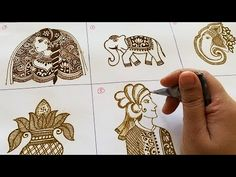 How to draw different types of Bridal Elements in Mehndi - Bride and Groom Faces, Elephants, Kalash, Lord Ganesha. Learn Easy Dulhan and Dulhan Drawing in Me. Latest Bridal Mehndi Designs, Peacock Mehndi Designs, Khafif Mehndi Design, Mehndi Designs Book, Mehndi Designs For Girls, Mehndi Designs 2018, Dulhan Mehndi Designs, Wedding Mehndi Designs, Unique Mehndi Designs