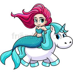 Cute Mermaid Riding A Unicorn: Royalty-free stock vector illustration of an adorable mermaid taking a ride on the back of a unicorn. Mermaid Cartoon, Cute Mermaid, Cute Girl Wallpaper, Pink Iphone, Art Prints Quotes, Vector Clipart, Stone Painting, Cute Wallpapers, Unicorn