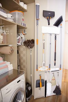 Organization Inspiration: 10 Neat & Beautiful Closets each handled item has a label on the door/wall where it should be returned…no more guessing which Utility Cupboard, Utility Closet, Laundry Closet, Cleaning Closet, Laundry Room Organization, Office Organization, Laundry Cupboard, Small Laundry, Laundry Center