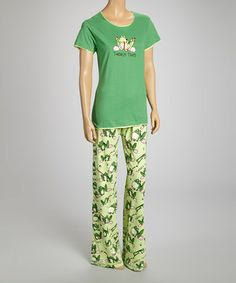 Love this Green 'Toadally Tired' Fitted Tee - Women by Lazy One on #zulily! #zulilyfinds