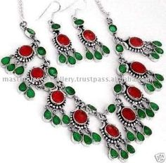 Ruby and Emerald necklace and earrings
