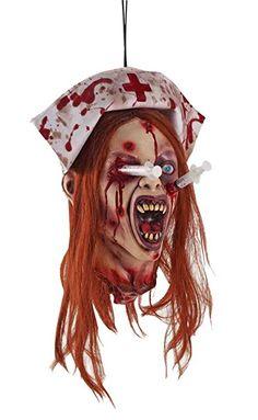 Abgeschlagener Kopf Krankenschwester Annie mit Spritzen im Kopf Zombie Klinik Halloween Horror