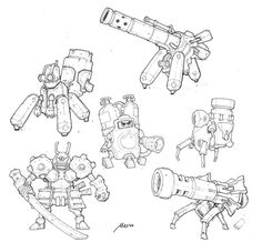 Robocalypse sketches 3 by Sidxartxa on DeviantArt Design Alien, Robot Design, Character Design Challenge, Character Design References, Illustration Sketches, Illustrations, Robot Sketch, Robots Characters, Robot Concept Art