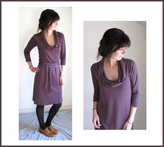 Plum Heather Cowl Dress
