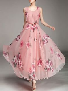 Elegant Round Neck Dacron Floral Printed Maxi-dress - fashionmia.com