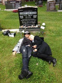 Corey Feldman visiting his best good buddy Corey Haim. So sad. via Corey Feldman's twitter.