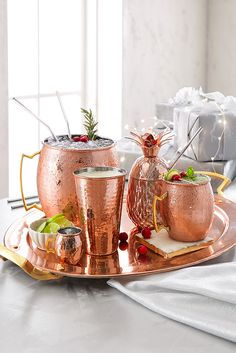 What began as a humble Moscow Mule Mug has evolved into an entire line of Pier 1 copper drinkware, perfect for holiday hosting, toasting and general merrymaking. Come find your favorites!