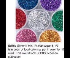 cup sugar, teaspoon of food coloring, baking sheet and 10 mins in oven to make edible glitter.Christmas cookies I JUST cup sugar, teaspoon of food coloring, baking sheet and 10 mins in oven to make edible glitter. Just Desserts, Delicious Desserts, Dessert Recipes, Yummy Food, Fancy Desserts, Cupcakes Decorados, Do It Yourself Baby, Do It Yourself Inspiration, Think Food