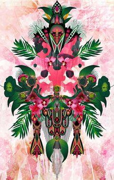 Illustration inspired by the dense vegetation of the tropical rainforests