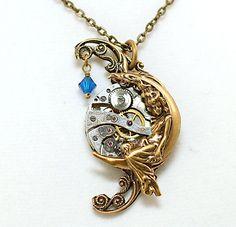 Victorian Necklace Steampunk Style Blue Victorian Steampunk Jewelry