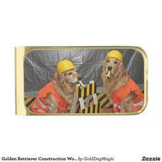 Golden Retriever Construction Workers Gold Finish Money Clip