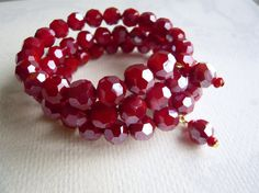 Cranberry Layers  Rich Red Bracelet  Holiday Jewelry  by 3pearls, $24.50