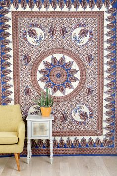 Paisley Medallion Tapestry for alfresco tablecloth or picnic spread. Cotton {84x100} 39.00
