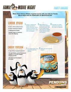 The perfect receipes to accompany your own Peguins of Madagascar movie night.