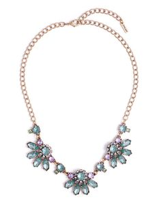 A MintSider favorite returns in new hues. About the Necklace: Gold tone with green and purple crystals. Total length is 18 with a 3 extender chain and 8.5 neckdrop. Lobster claw closure. ONLY@JM