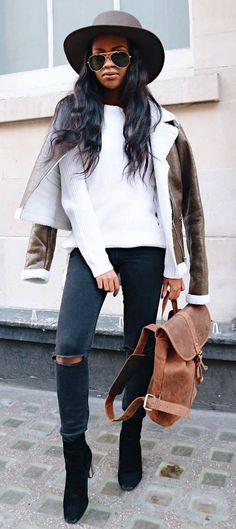 fashionable outfit: hat + leather jacket + white top + rips + bag + boots