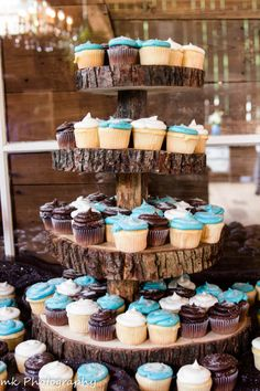 Cupcake tower cut from a tree.  Taken at The Farmhouse Weddings. Photo courtesy of MK Photography