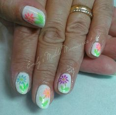 CND Shellac Rockstars Cream Puff with Blossom glitter, hand painted flowers and Neon pigments.