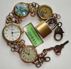 Steampunk Recycled Vintage Watches with Working Quartz Watch, Padlock, and Liberty Fabric Bracelet