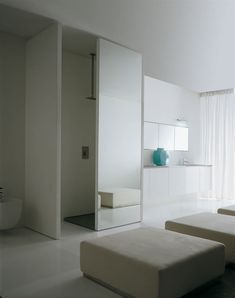Wonderful Great Ideas for Bathroom Design – System by Karol : Wonderful Ideas For Bathroom Design – System By Karol With White Wall Sofa Pillow Mirror Sliding Door Window Curtain Closet