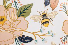 Flower & Honey Bee Wallpaper