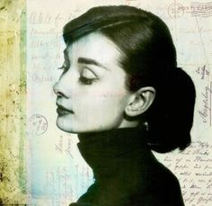 Audrey Hepburn   Ponytail Mod Mixed Media Collage by VelvetMorning