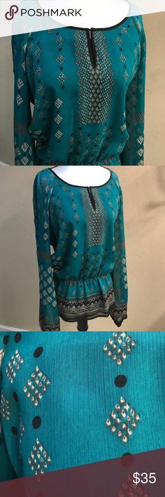 Adrianna Papell long sleeve blouse - Teal color! Adrianna Papell long sleeve blouse.  Beautiful teal  blouse with a brown/cream pattern.  Perfect for spring & summer Adrianna Papell Tops Blouses