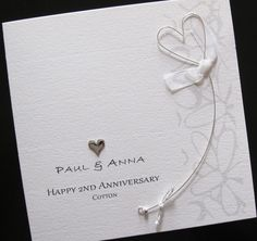 2nd Wedding Anniversary Card Hessian And Red Heart Personalised Greeting Cotton Second Husband Wife Pinterest