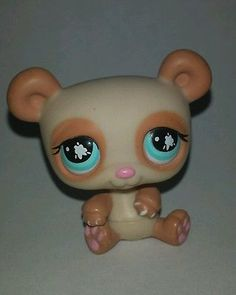 Littlest Pet Shop Tan Brown Panda Bear Blue Eyes #925 Preowned LPS