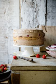 Strawberry cake with chocolate and salted caramel mousse and almond sponge